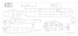 AM Aircoach BW print model airplane plan