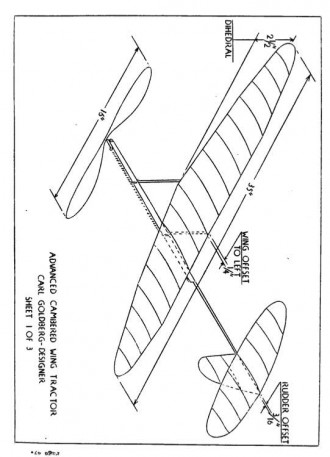 Advanced Cambered Wing Tractor model airplane plan