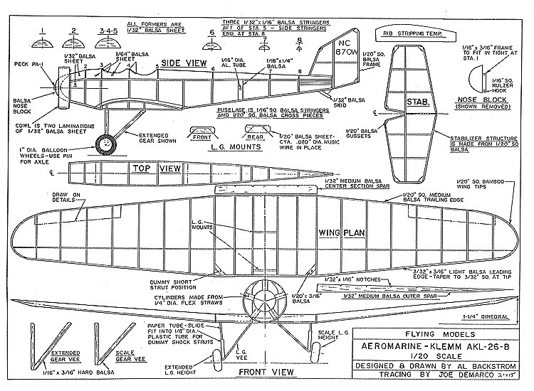 Aeromarine Klemm Backstrom model airplane plan