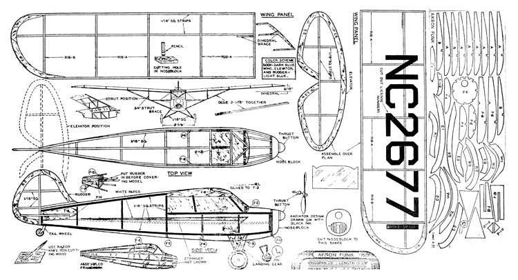 Akron Funk model airplane plan