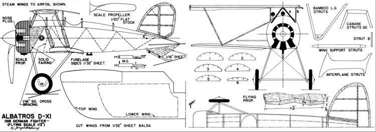 Albatros D-XI-MAN-09-47 model airplane plan
