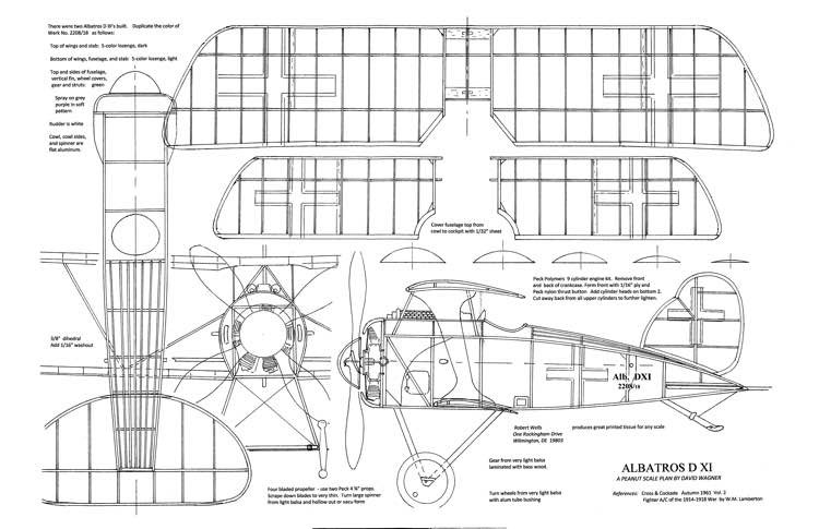 Albatros D-XI model airplane plan