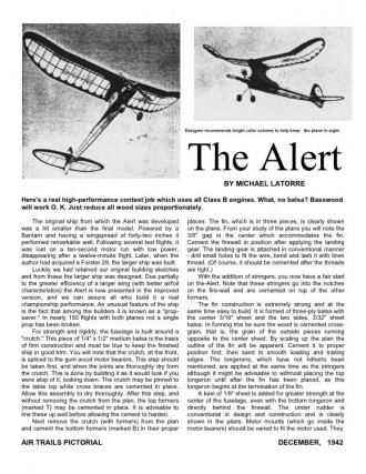 Alert model airplane plan