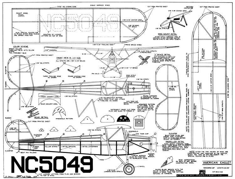 American Eaglet 25in model airplane plan