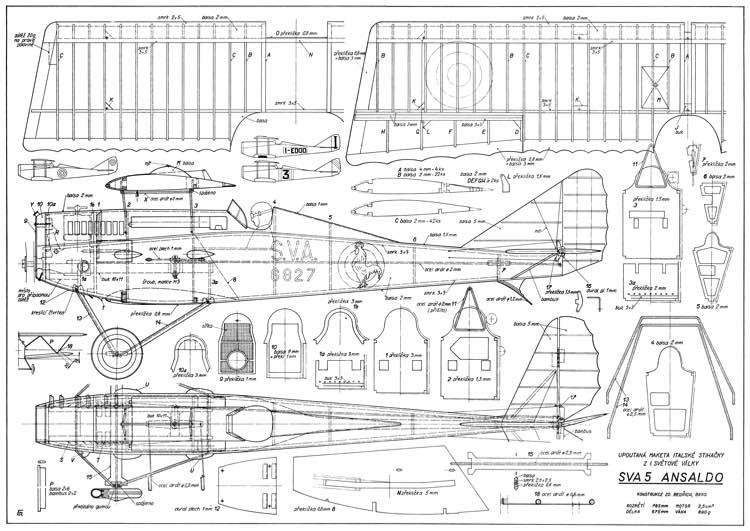 Ansaldo SVA 5 CL 31in model airplane plan