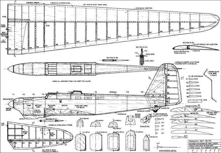 Ant-25 RC model airplane plan