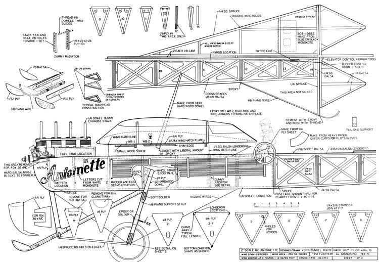 Antoinette 98in model airplane plan