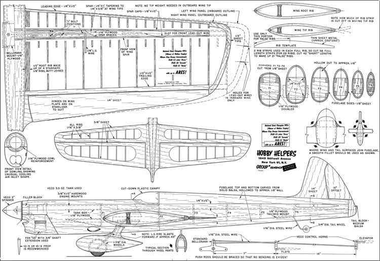 Ares model airplane plan
