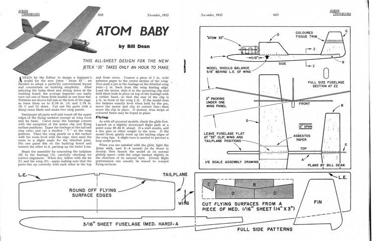 Atom Baby 1 model airplane plan