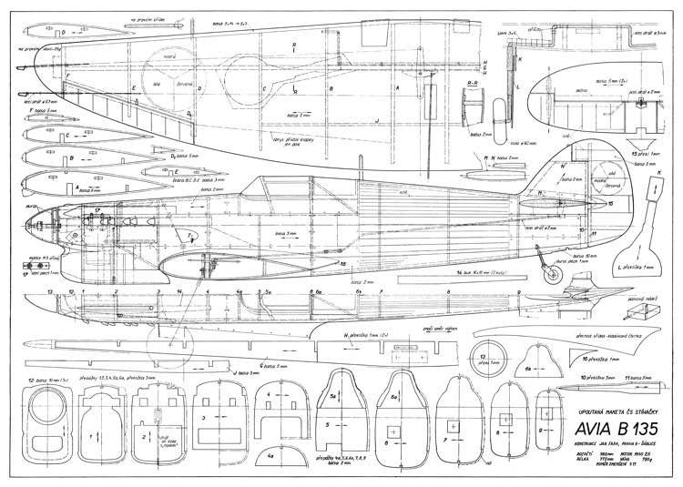 Avia B-135 39in model airplane plan