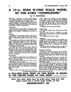 Avro Commodore model airplane plan