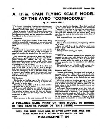 Avro Commodore model airplane plan