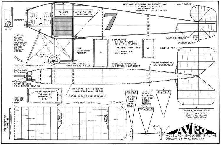 Avro G model airplane plan
