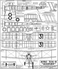 Avro 504-R Gosport model airplane plan