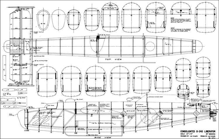 B-24 Liberator 55 inch model airplane plan