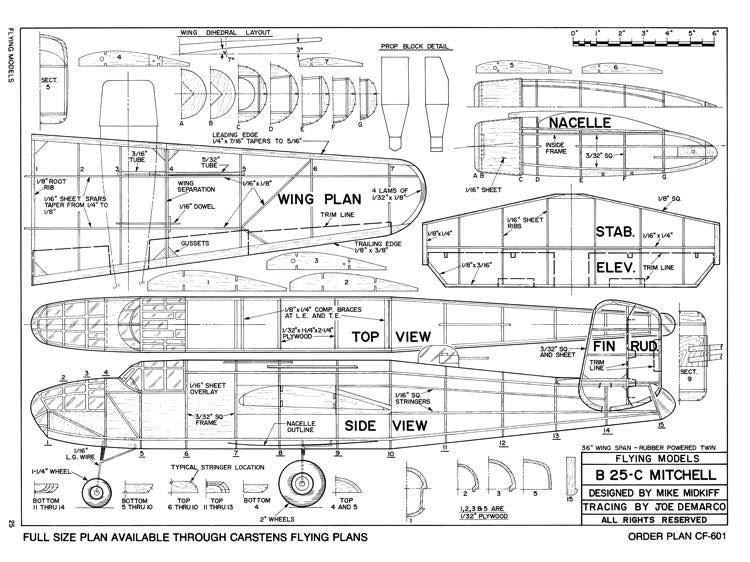 B-25 C Mitchell model airplane plan