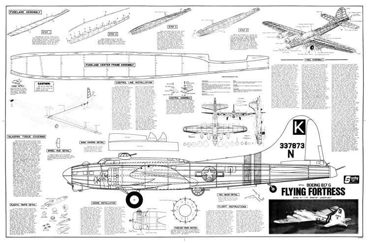 B17 Sterling 39 inch model airplane plan