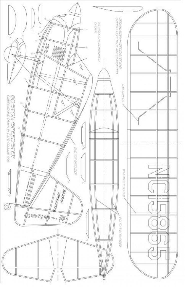 BOSTON SPEEDSTER model airplane plan
