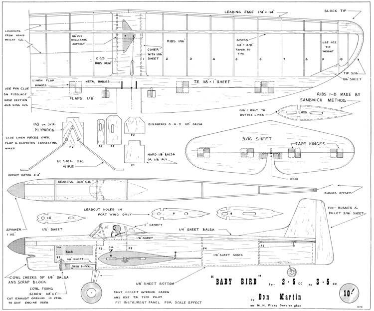 Baby Bird model airplane plan
