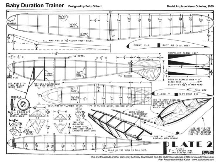 Baby Duration Trainer plan model airplane plan