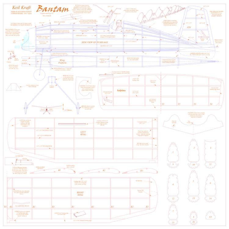 Bantam KK one sheet model airplane plan