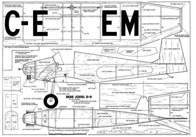 Bebe Jodel D-MAN-04-82 model airplane plan