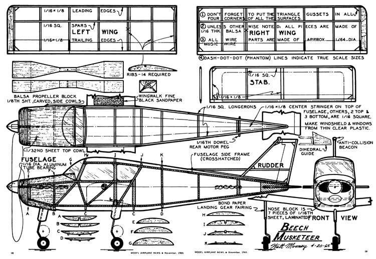 Beech Musketeer model airplane plan