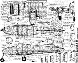 Beech Twin Bonanza 40in model airplane plan