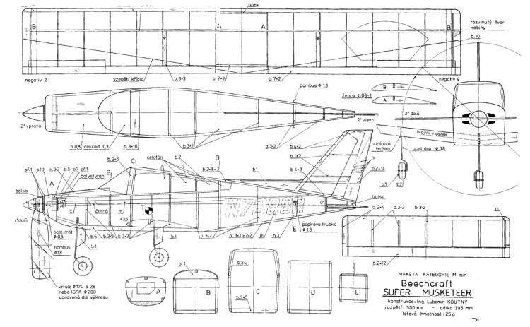 Beechcraft Super Musketeer model airplane plan