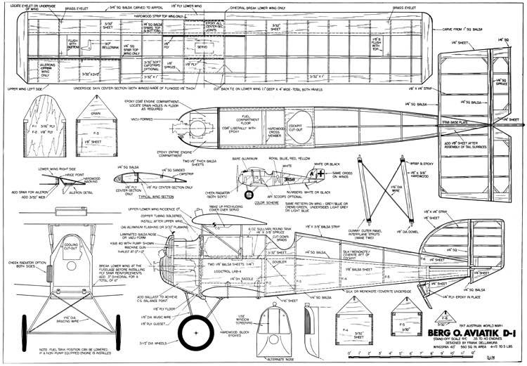 Berg Aviatik-D-1 model airplane plan