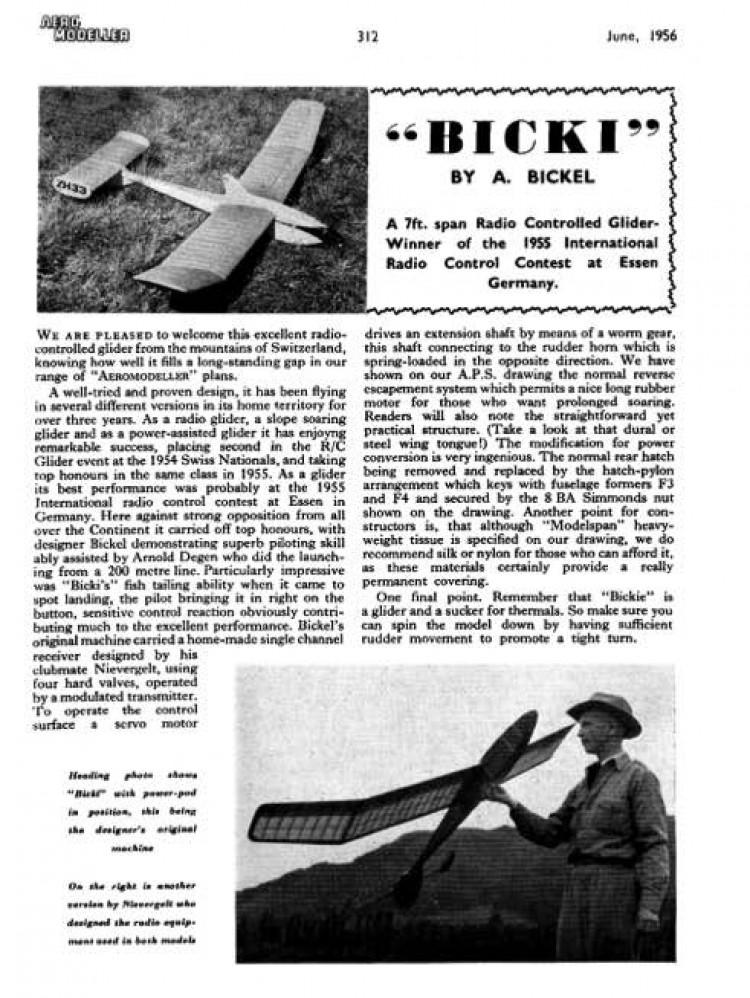 Bicki model airplane plan