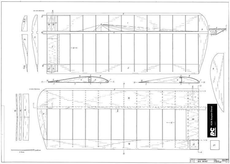 Big Wing 65in model airplane plan