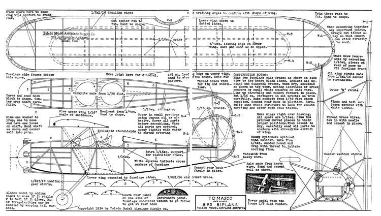 Bird Biplane Tomasco model airplane plan