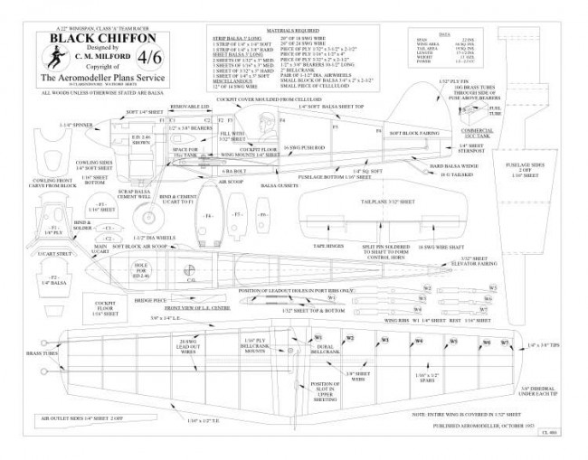 Black Chiffon BW Print model airplane plan