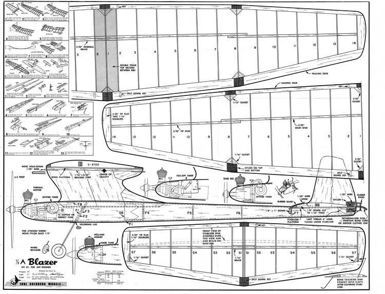 1/2 A Blazer model airplane plan