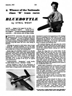 Bluebottle 31in model airplane plan