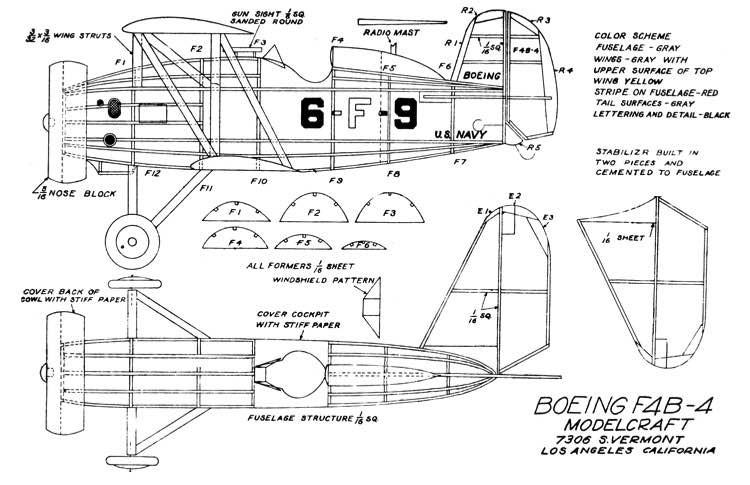Boeing F4B-4 19.5in model airplane plan