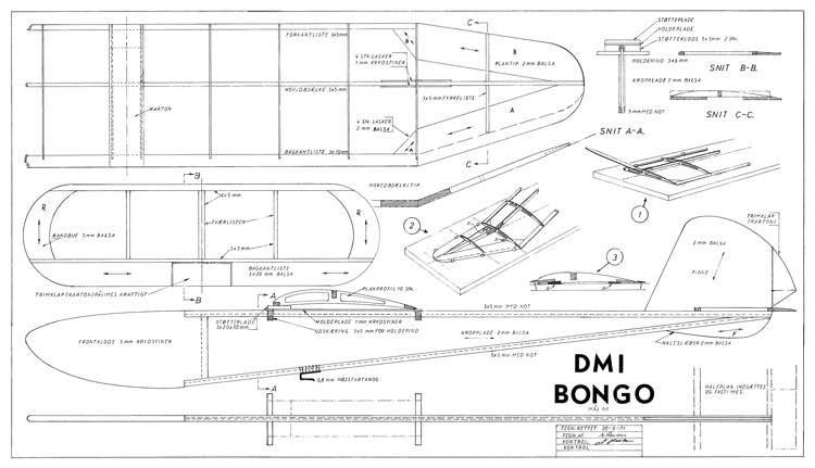 Bongo DMI glider model airplane plan