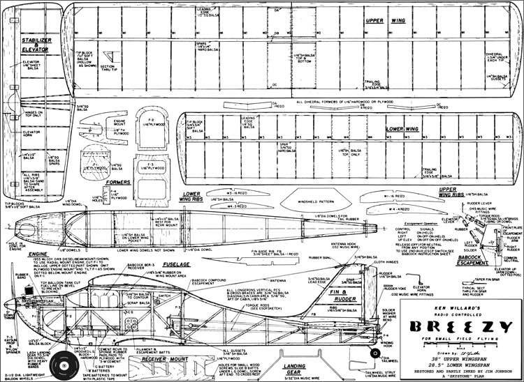 Breezy 38in model airplane plan