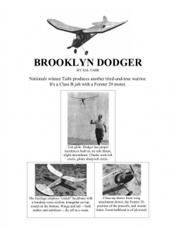 Brooklyn Dodger model airplane plan