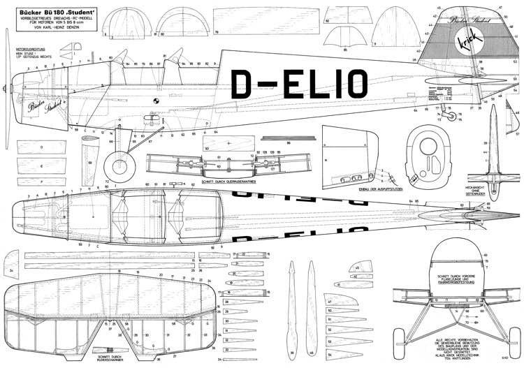 Bucker 180 Student model airplane plan