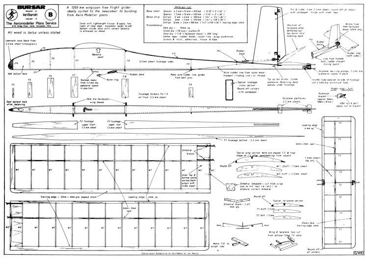 Bursar 48in towline glider model airplane plan