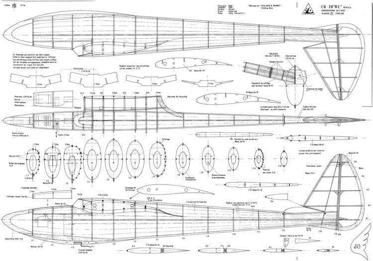 "CB 28 ""RC"" Replica model airplane plan"