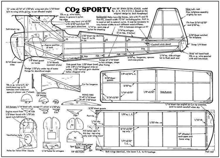 CO2 Sporty model airplane plan
