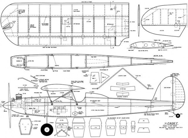 Cadet RC 62in model airplane plan