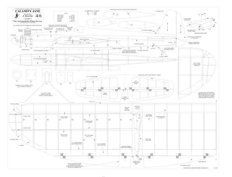 Calamity BW Print model airplane plan