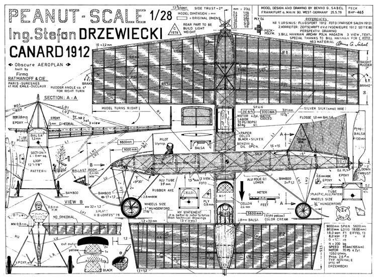 Canard 1912 model airplane plan
