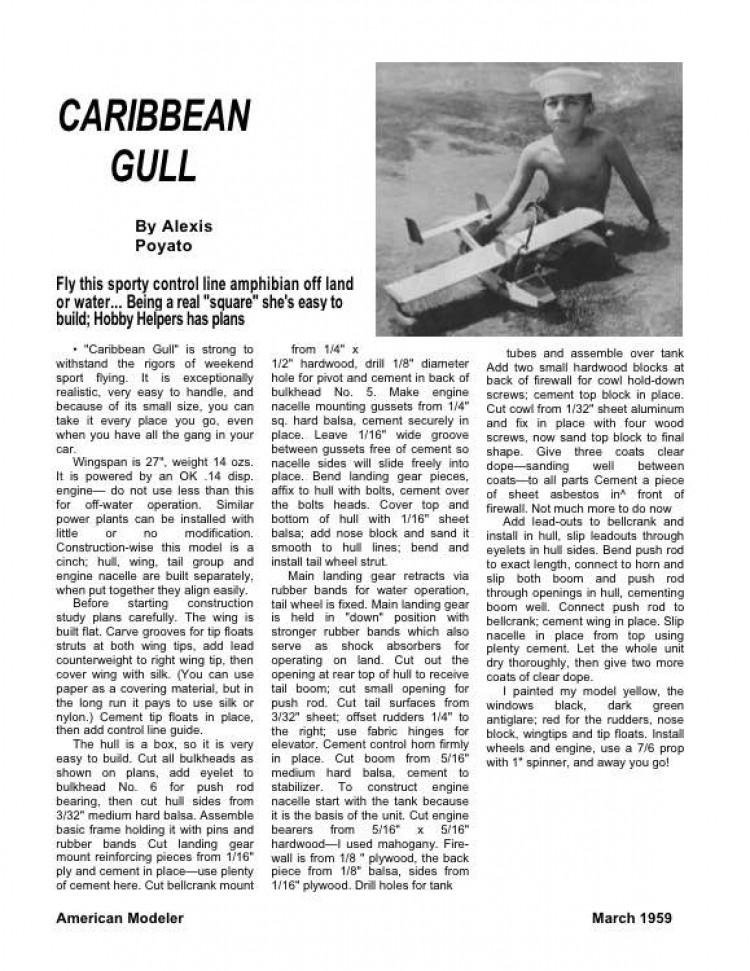 CaribbeanGull model airplane plan
