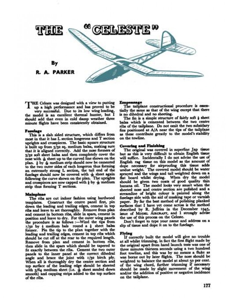 Celeste model airplane plan