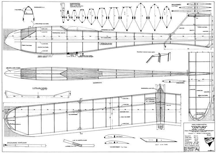 Century glider model airplane plan